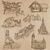 Dibujos a pulso de la arquitectura y de los lugares en todo el mundo - Fotografía de archivo