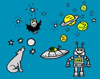 Dibujos sobre noche y espacio con un vampiro y un robot para los niños también disponibles como dibujo del vector libre illustration