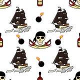 Dibujos temáticos del fondo de los piratas inconsútiles a mano Símbolo-espadas del pirata, una nave con las velas negras, cráneo  libre illustration