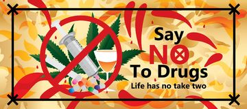 Dica no ad effetto dell'insegna delle droghe royalty illustrazione gratis