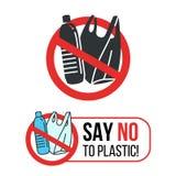 Dica no al segno di plastica con il sacchetto di plastica di plastica e della bottiglia di acqua nella progettazione rossa di vet illustrazione di stock