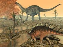 Dicaeosaurus e dinosauri del kentrosaurus - 3D Fotografie Stock