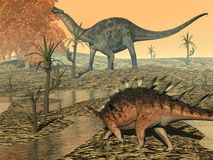 Dicaeosaurus and kentrosaurus dinosaurs - 3D Stock Photos
