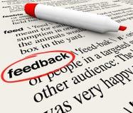 Diccionario circundado feedback de la definición de la palabra libre illustration
