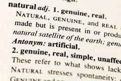 Diccionario falso artificial real auténtico natural imagen de archivo libre de regalías