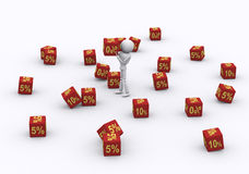 Dice 0 percent. Royalty Free Stock Images