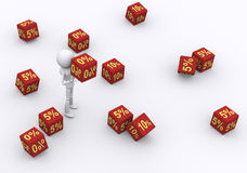 Dice 0 percent. Royalty Free Stock Image