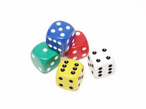 Dice 013. Five dice on an isolated white background, various colors Royalty Free Stock Photography