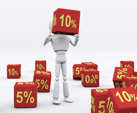 Dice 10 percent. 3D person holding the dice 10 percent Stock Images