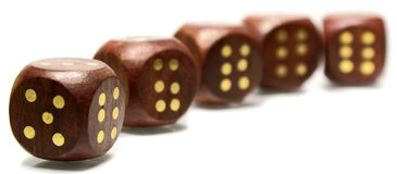 Dice. High quality photo of wooded playing bones (dices royalty free stock photos
