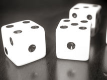 Dice. Close up black and white image of dice Royalty Free Stock Images