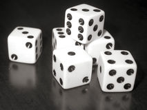 Dice. Close up black and white image of dice stock photo