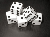 Dice. Close up black and white image of dice stock photography