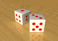 Dice. A 3d rander image of dice on table royalty free illustration