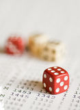 Dice. Red and white dice only with 6 Stock Photo