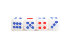 Dice. Four dice on white background (isolated, close up Royalty Free Stock Image