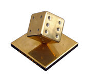 Dice. Heavy golden dice Stock Photo
