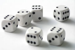 Dice. On white table royalty free stock photo