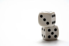 Dice. Two dice and a white background Royalty Free Stock Photos