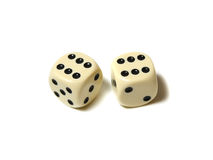 Dice. A pair of dice on a white background Royalty Free Stock Photography