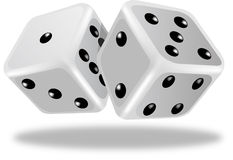 Dice. Pair of white dice isolated on white background Royalty Free Stock Images