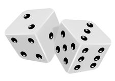 Dice. Pair of dice roll on the game table - illustration of gambling symbol vector illustration