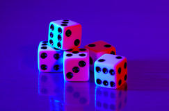 Dice 2. Dice With Colored Lighting Royalty Free Stock Photos