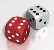 Dice: 2 Sixes. Red and white dice both throw with six turned up Stock Image