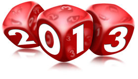 Dice 2013 Happy New Year. Three red dice with the written 2013 and reflections Stock Photos