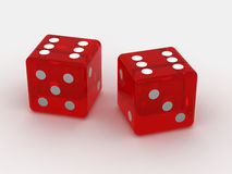 Dice. Two playing bones on an isolated white background Stock Image