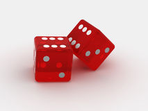Dice. Two playing bones on an isolated white background Stock Photography