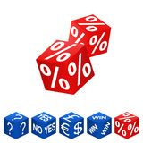 Dice. S with dollar, pound and euro symbols, win text, percent symbol, yes or no text and question mark symbol. Vector available Stock Photography
