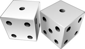 Dice. Showing a total of two, snake eyes Royalty Free Stock Images