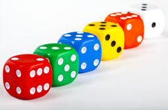 Dice. Six Dice over a white background Royalty Free Stock Image