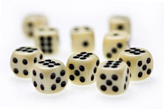 Dice. Close up view of three dice on white Stock Photos