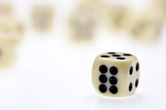 Dice. Close up view of three dice on white Royalty Free Stock Photos