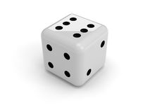 Dice. A black and white dice, isolated over a white background Royalty Free Stock Images