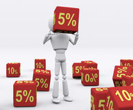 Dice 5 percent. Stock Photo