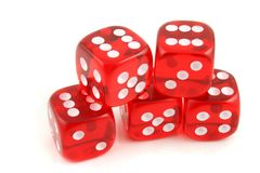 Dice 5 sixes Royalty Free Stock Photo