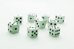 Dice. With Green Cast on Plain Background Royalty Free Stock Photo
