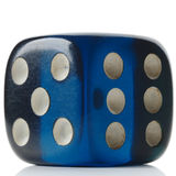 Dice. A transparent blue dice on white Royalty Free Stock Photo