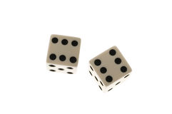 Dice. Two dice showing double sixes isolated on white Stock Image