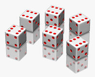 Dice. On white with reflection Stock Photo