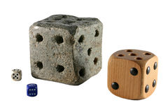 Dice. Granite brick, dice, isolated on white background Royalty Free Stock Images