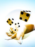 Dice 76. A image of a set of dice that have been thrown, it would be suitable for images based on betting Stock Photo