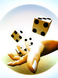 Dice 80. A image of a set of dice that have been thrown, it would be suitable for images based on betting Stock Image