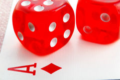 Dice and Ace Royalty Free Stock Photo