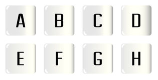 Dice Alphabet A to H Stock Images