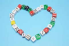 Dice Arranged in Shape of Love Heart Royalty Free Stock Photo
