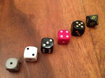 Dice ascending. Dice lined up in ascending order Royalty Free Stock Photography